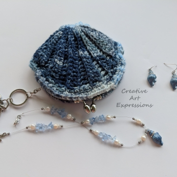 Seashell Clam Coin Purse Keychain, Crocheted, Blue & Silver Seashell Necklace Earring Jewelry Set, Celestial Blue Casa Satin Lined, Mermaid Necessities, Bridal Jewelry, Bridesmaids gifts,  Unqiue Teen or Women Girl Gift, Ready to Ship,