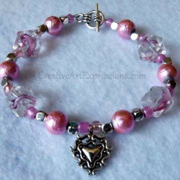 Clearance-Was $8.00 Now $5.00 Creative Art Expressions Handmade Pink & Silver Bracelet Jewelry