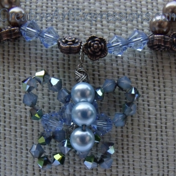 Creative Art Expressions Handmade Blue & Bronze Pearl Butterfly Necklace