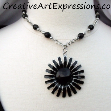 Clearance-Was $20.00 Now $10.00 Creative Art Expressions Handmade Black & Silver Zinnia Necklace Jewelry Design