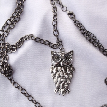 Clearance Was $18.00 Now $10.00 Creative Art Expressions Handmade Antique Silver Owl Necklace Jewelry Design