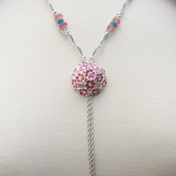 Clearance Was $20.00 Now $15.00 Creative Art Expressions Handmade Pink Bouquet Necklace