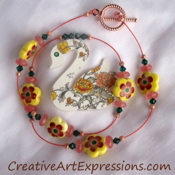 Clearance Was $15.00 Now $10.00 Creative Art Expressions Handmade Summer Swan Necklace