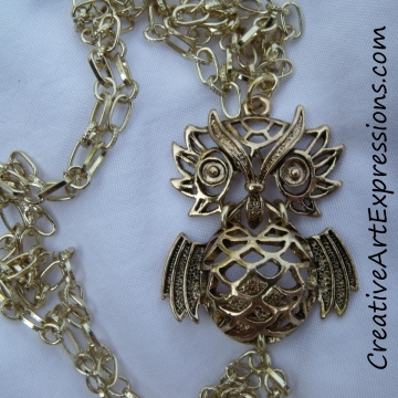 Clearance Was $15.00 Now $10.00 Creative Art Expressions Handmade Gold Owl Necklace