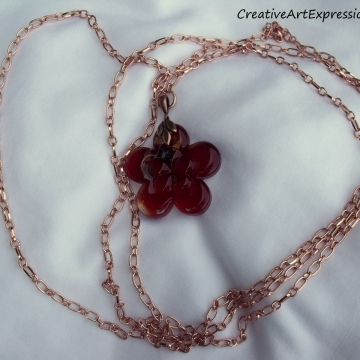 Clearance Was $15.00 Now $10.00 Creative Art Expressions Handmade Red & Copper Flower Necklace