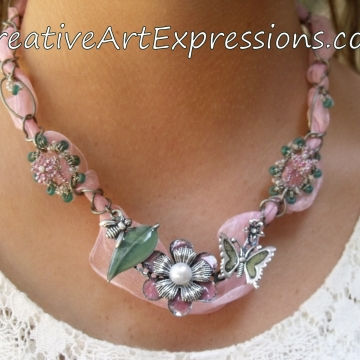 Clearance-Was $30.00 Now $20.00 Creative Art Expressions Handmade Pink Wire Wrapped & Ribbon Necklace Jewelry
