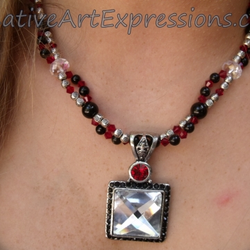 Clearance-Was $30.00 Now $20.00 Creative Art Expressions Handmade Red Black Silver Crystal Necklace Jewelry
