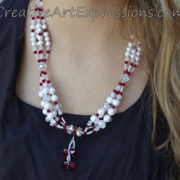Clearance-Was $32.0  Now $22.00 Creative Art Expressions Handmade Red & White Pearl & Crystal Necklace Jewelry