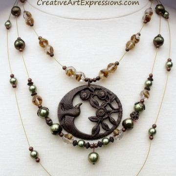 Clearance-Was $35.00 Now $25.00 Creative Art Expressions Handmade Brown Green & Brass 3 Strand Bird Necklace Jewelry
