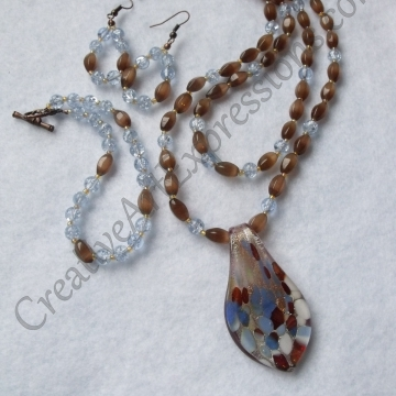 Clearance-Was $30.00 Now $22.00 Creative Art Expressions Handmade Blue & Mahogany Necklace Bracelet & Earring Jewelry Set