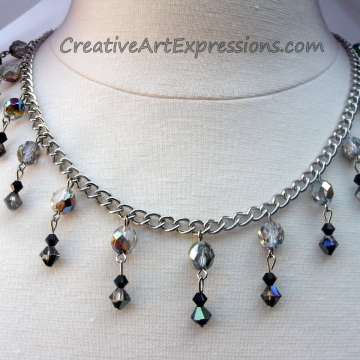 Creative Art Expressions Handmade Black & Silver Crystal Necklace & Earring Set Jewelry Design