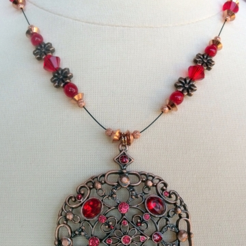 Creative Art Expressions Handmade Red & Antique Copper Necklace & Earring Set Jewelry Design