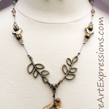 Creative Art Expressions Handmade Spring Bird Necklace & Earring Set