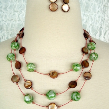 Creative Art Expressions Handmade Green & Brown Mother of Pearl 3 Strand Necklace & Earrings Jewelry Design