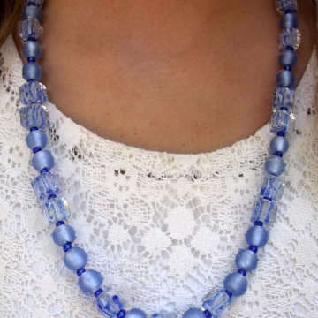 Clearance-Was $25.00 Now $18.00 Creative Art Expressions Handmade Blue Necklace & Earring Jewelry Set