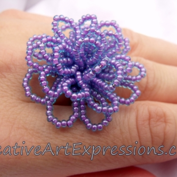 Creative Art Expressions Handmade Purple Aqua Seed Bead Flower Ring Jewelry Design