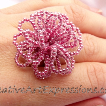 Creative Art Expressions Handmade Pink Seed Bead Flower Ring Jewelry Design