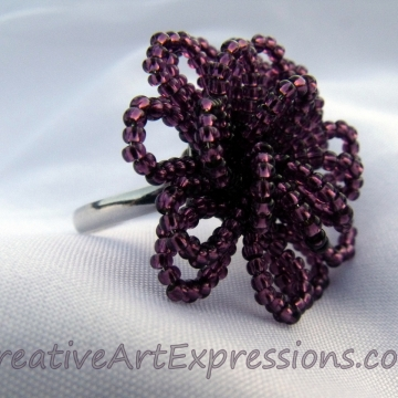 Creative Art Expressions Handmade Amethyst Seed Bead Flower Ring Jewelry Design
