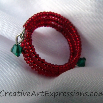 Creative Art Expressions Handmade Red & Green Memory Wire Ring Jewelry Design