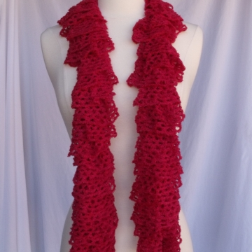 Creative Art Expressions Hand Knit Red Frill Lace Soft Ruffle Scarf