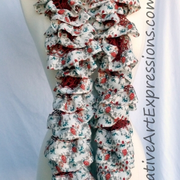 Hand Knitted White Orient Fabric Lined Ruffle Scarves