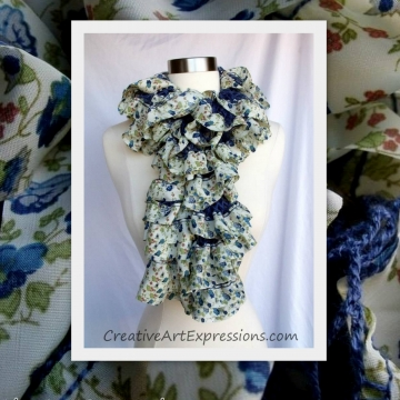 Scarf Knitted Blue Floral Fabric Lined Ruffle
