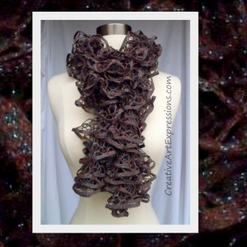 Creative Art Expressions Hand Knitted Brown & Turquoise Glam Ruffle Scarf