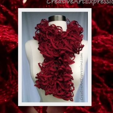 Creative Art Expressions Hand Knit Ruby Red Glam Ruffle Scarf