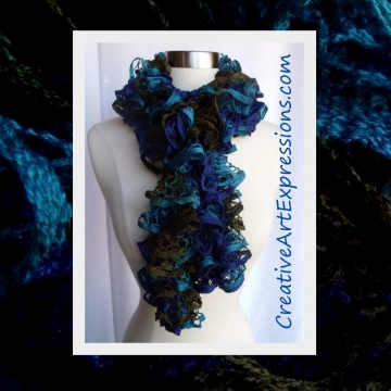 Creative Art Expressions Hand Knitted Blue & Green Ruffle Scarf