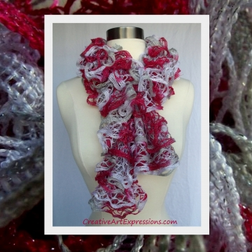 Creative Art Expressions Hand Knitted Candy Cane Christmas Ruffle Scarf