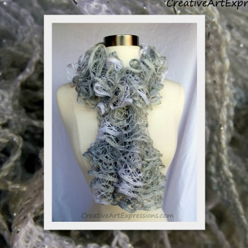 Creative Art Expressions Hand Knitted Frosty Christmas Ruffle Scarf
