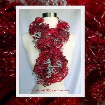 Hand Knitted Crimson Red & Silver Christmas Ruffle Scarf