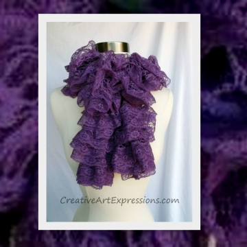 Creative Art Expressions Hand Knit Purple Lace Ruffle Scarf