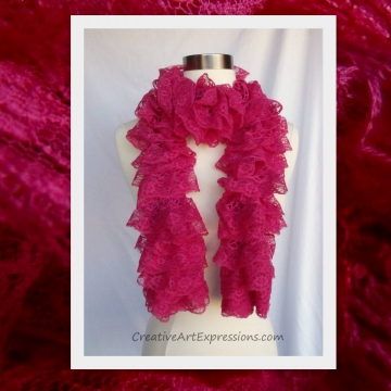 Creative Art Expressions Hand Knit Hot Pink Lace Ruffle Scarf