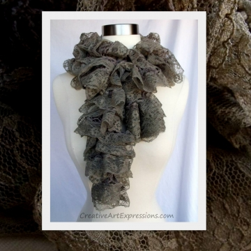 Creative Art Expressions Hand Knit Stone Lace Ruffle Scarf