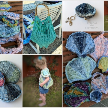 Seashell Purse, Pillow, Beach Bag & Coin Purse Crochet Pattern Collection, PDF Downloadable Pattern, Video Tutorials, Crochet Pattern, Mermaid Crochet, Ocean Crochet