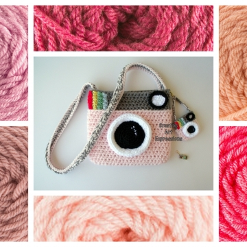 Camera Purse, Pink, Made to Order, Shades of Pink, Camera Bag,Stylish, Crochet, Fabric Lined