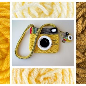 Camera Purse, Yellow, Made to Order, Shades of Yellow, Camera Bag, Stylish, Crochet, Fabric Lined