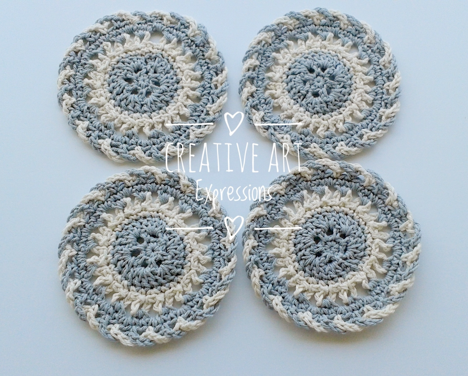 4 Gray & Ivory Round Fancy Cotton Coasters