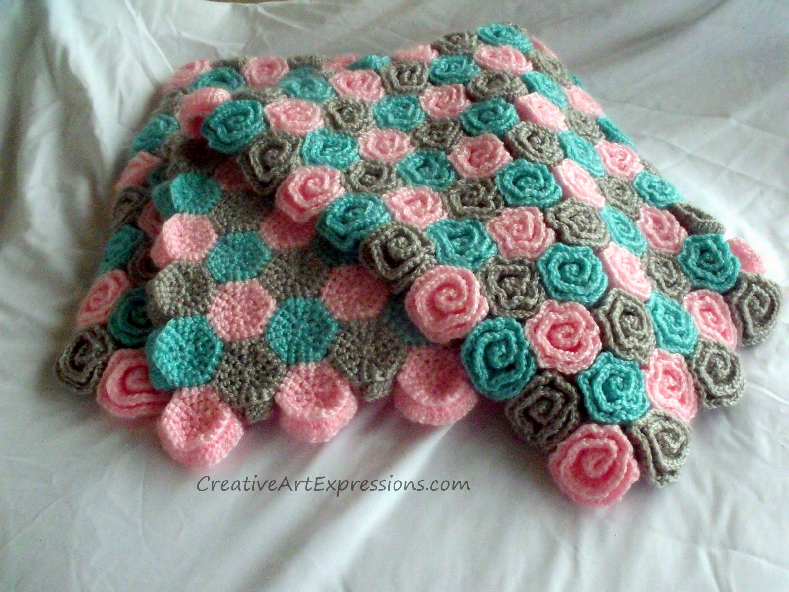 Creative Art Expressions Hand Crocheted Roses Baby Blanket ...