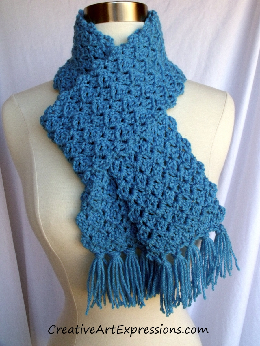 Creative Art Expressions Hand Crocheted Neon Blue Scarf Creative