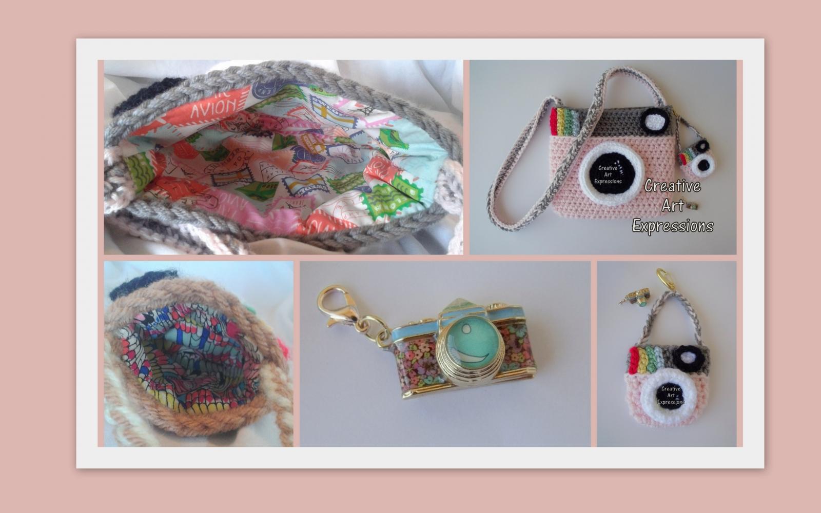 Pink & Gray Vintage Camera Purse Crocheted