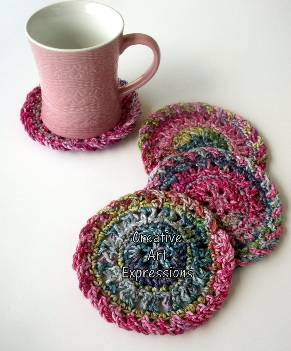 Pink Green & Purple Cotton Crocheted Coasters Round