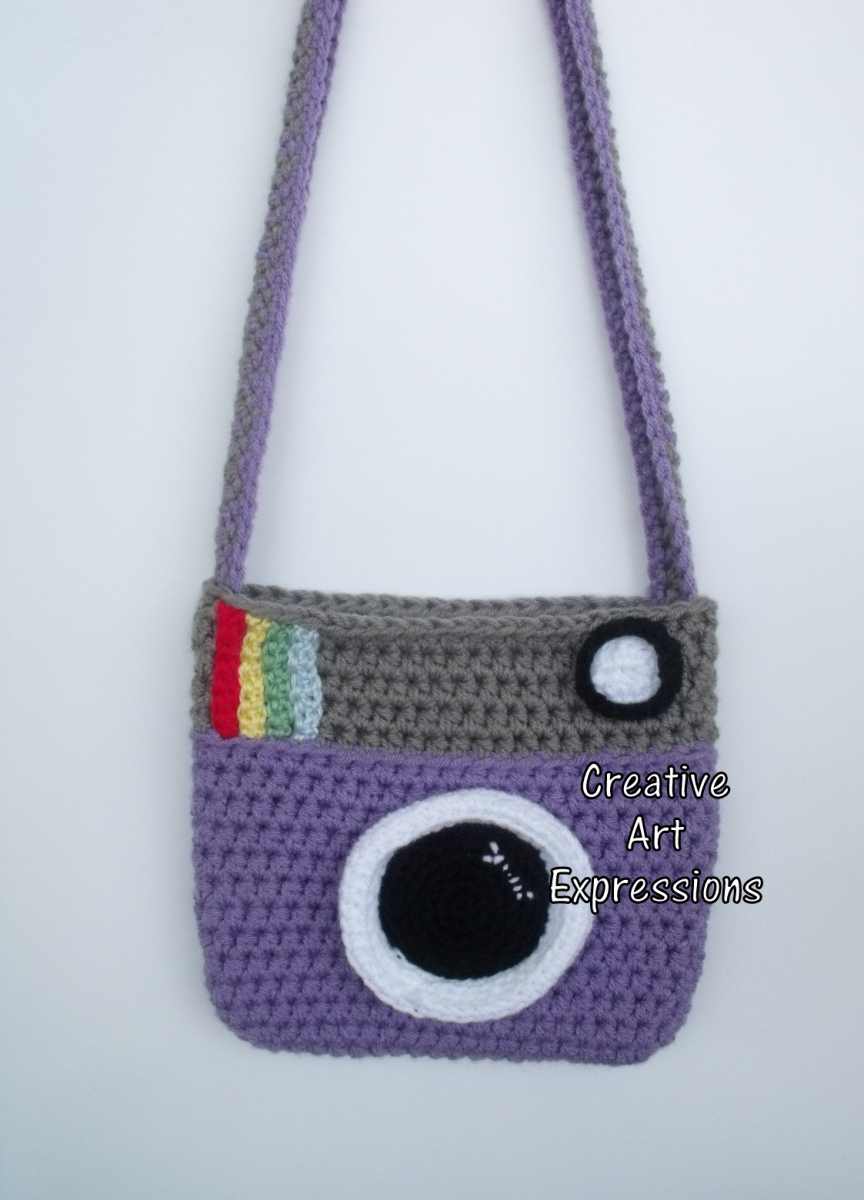 Purple & Gray Vintage Camera Purse Crocheted