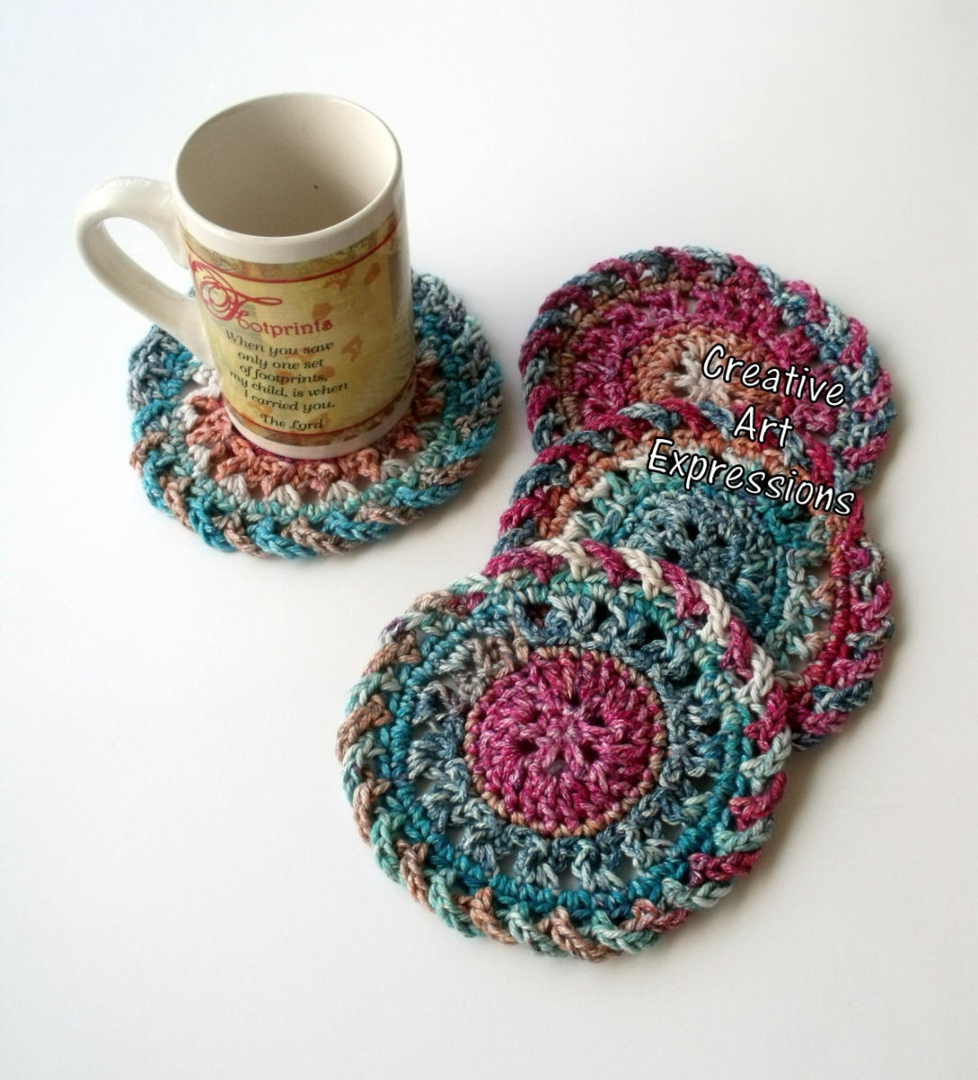 Bright Colored Coasters Cotton Crocheted