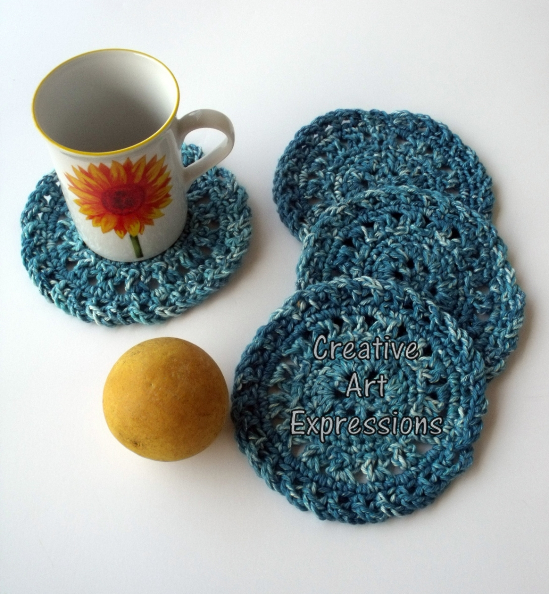 Teal Round Cotton Crocheted Coasters
