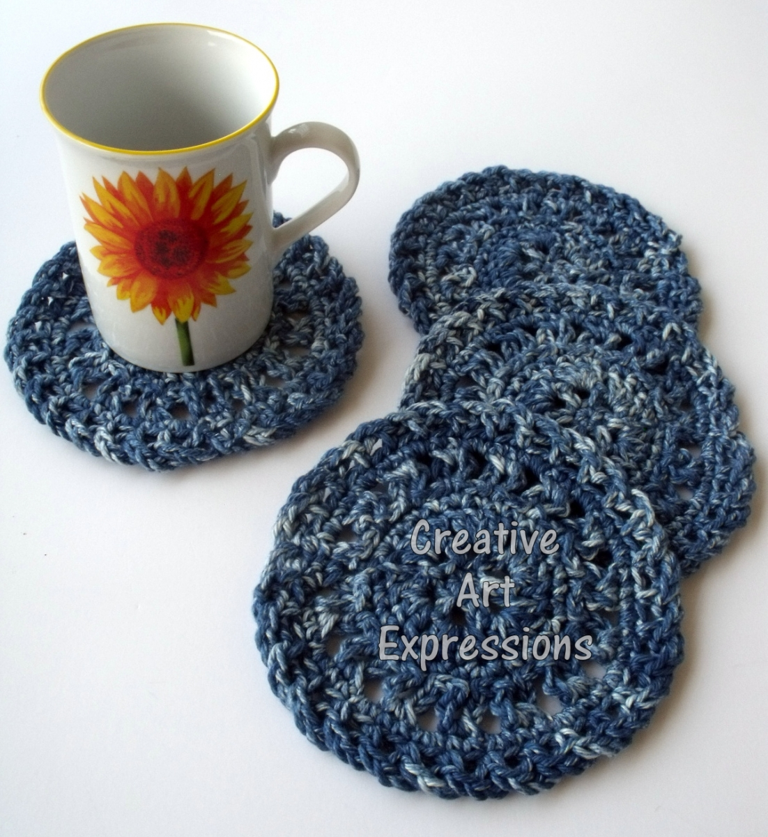 Blue Denim Crocheted Round Coasters