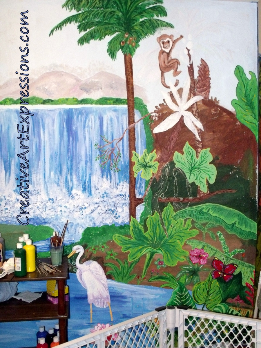 Creative art expressions hand painted rain forest mural in for Creative mural art