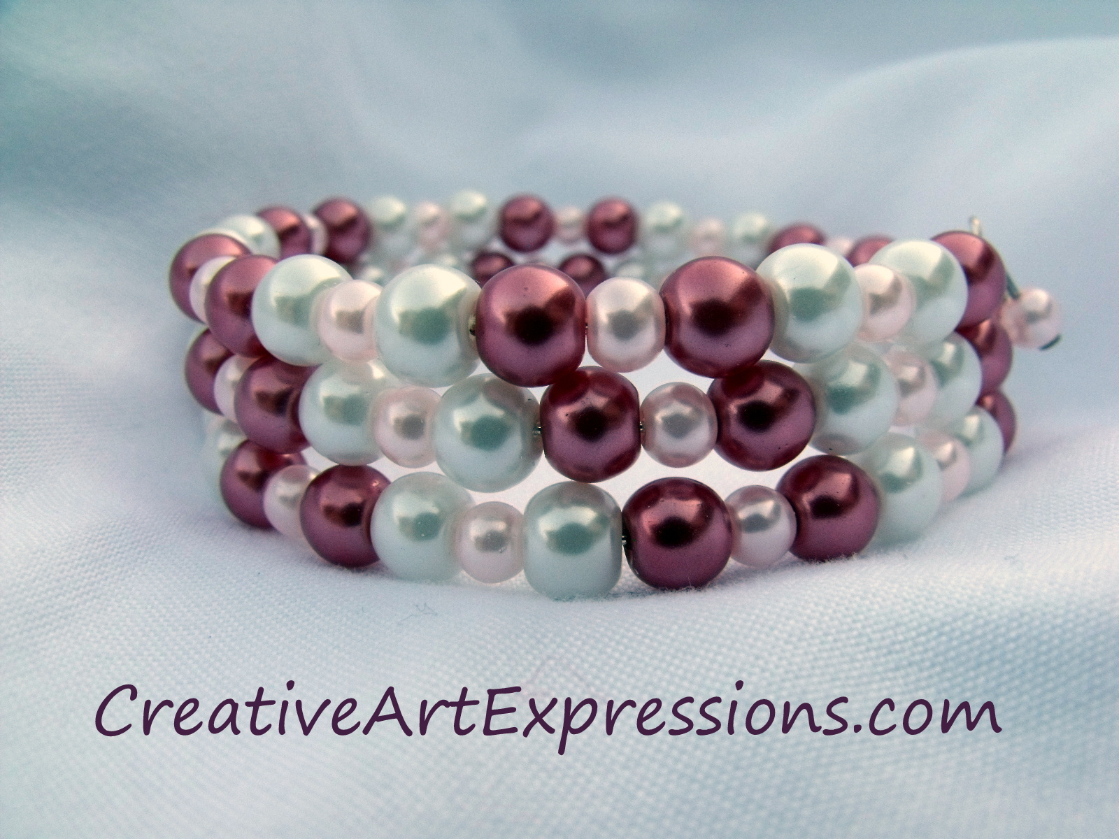 Creative Art Expressions Handmade Cranberry Pink & White Glass Pearl ...