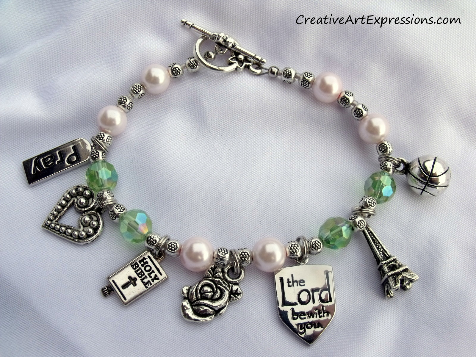 Creative Art Expressions Handmade Pink & Green Charm Bracelet